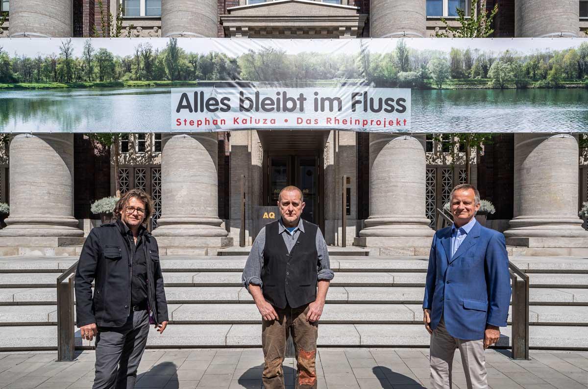 v.l. Dirk Geuer (Galerist), Stephan Kaluza (Künstler), Uwe Schmitz (Vorstandsvorsitzender FRANKONIA Eurobau AG)